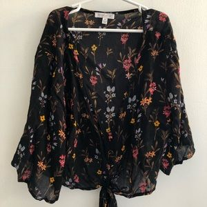 Floral black cropped tie blouse